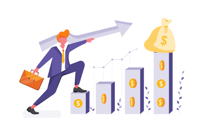 Concept of business profit growth Illustration