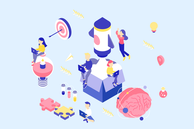Concept of business startup process Illustration