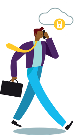 Concept of businessman calling and data security of cloud Illustration