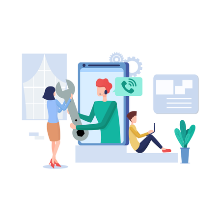 Concept of call support and service Illustration