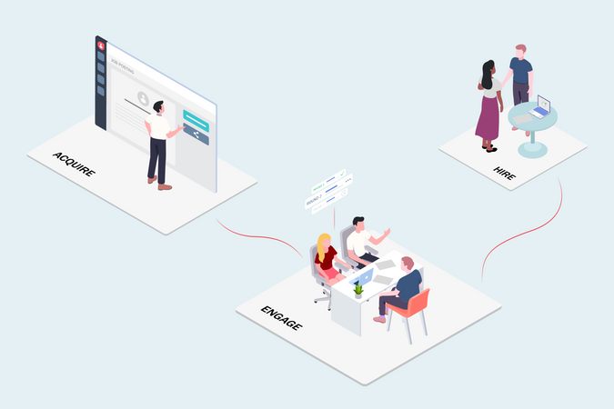 Concept of candidate hiring process for company Illustration