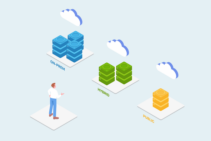 Concept of Choosing  appropriate Hosting for Businesses and data management Illustration