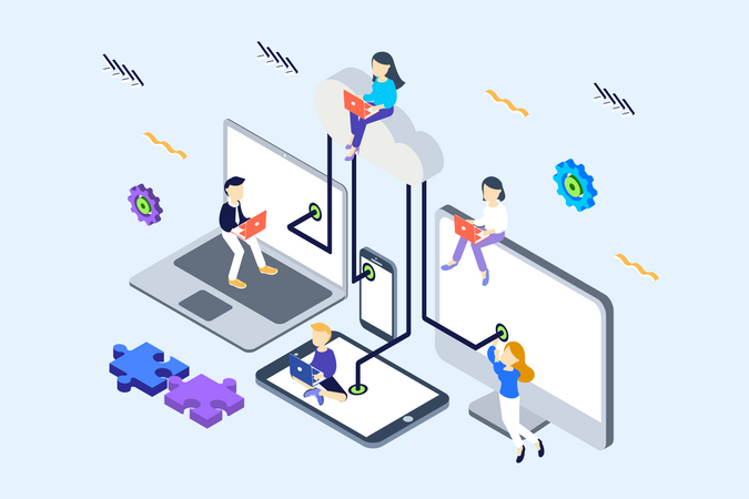 Concept of Cloud computing connected devices network Illustration