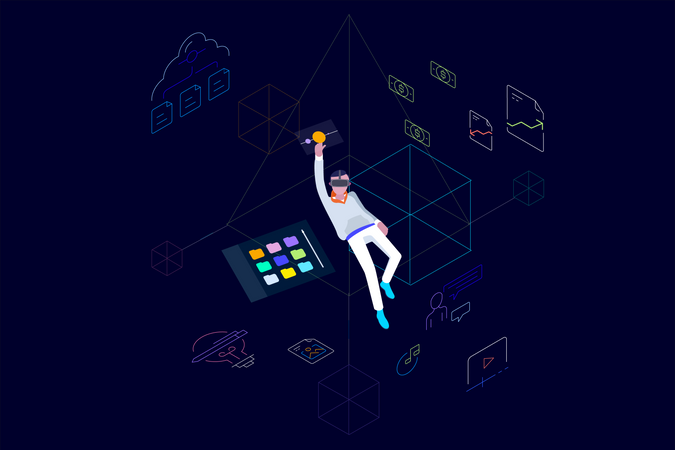 Concept of cloud data storage and data management using vr glasses Illustration