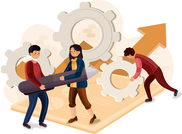 Concept of company startup and development team Illustration