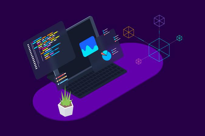 Concept of data analysis and web development Illustration