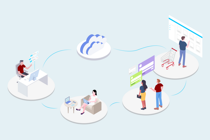 Concept of different cloud services and cloud networking Illustration