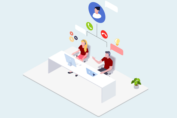 Concept of different cloud services and online support Illustration