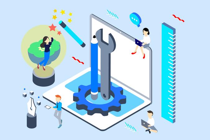 Concept of different design tools for create design Illustration