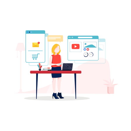 Concept of different digital marketing places Illustration