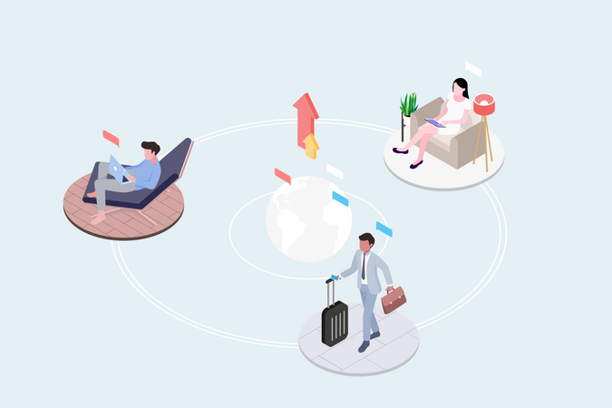 Concept of different people work anywhere with cloud computing services Illustration