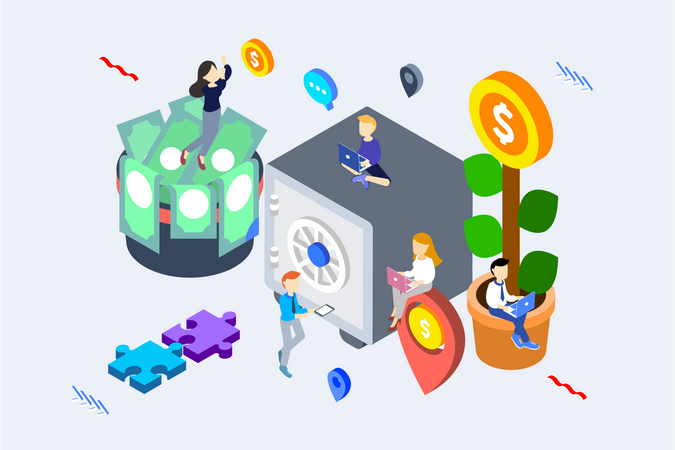 Concept of different type of eCommerce investments Illustration
