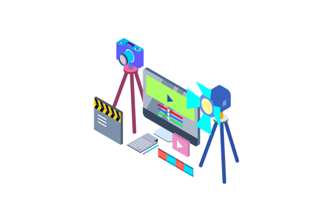 Concept of different video making equipment for Film production Illustration