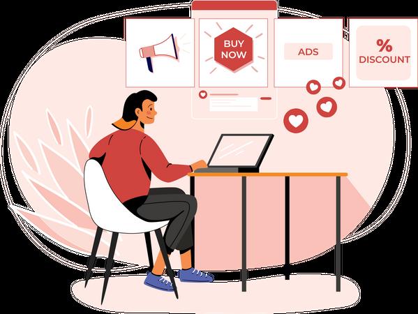Concept of digital marketing process Illustration