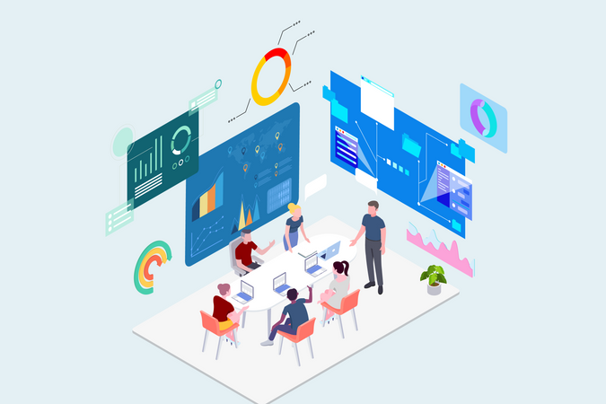 Concept of discussion about project planning and development Illustration