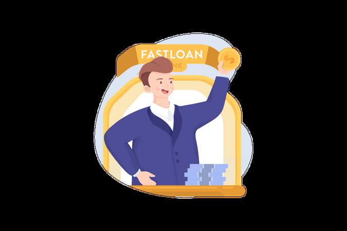 Concept of fast loan Illustration