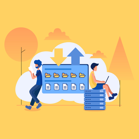 Concept of files and folders are transferring via cloud server Illustration