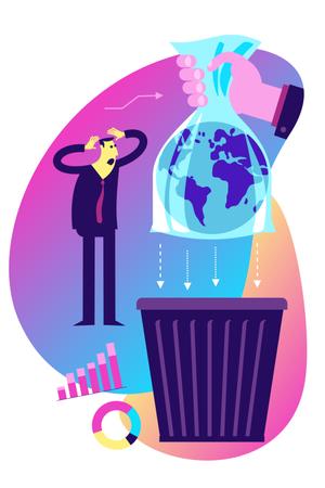 Concept of how plastic usage is dangerous Illustration