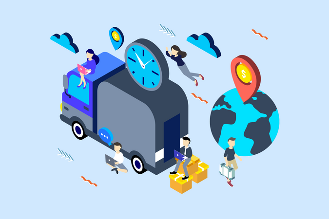 Concept of international shipping and delivery Services Illustration