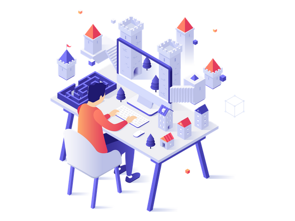 Concept of internet service for augmented or virtual reality, online game simulation Illustration
