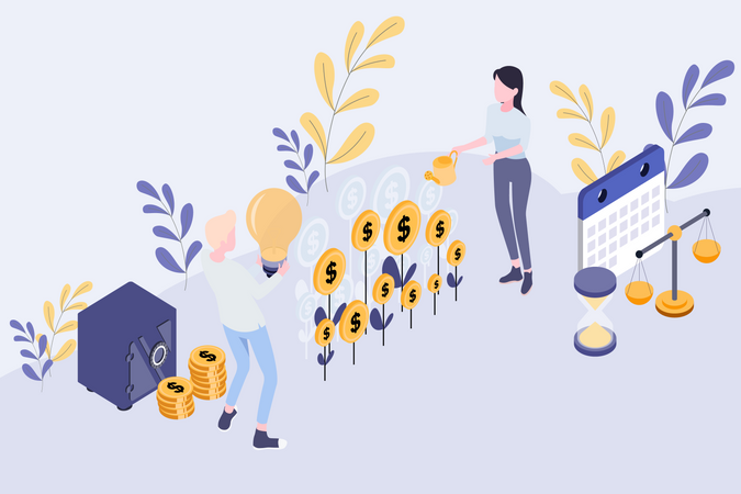Concept of investment and finance in startup business Illustration