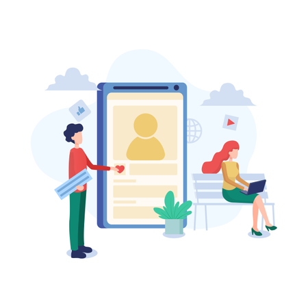 Concept of liking social media profile Illustration