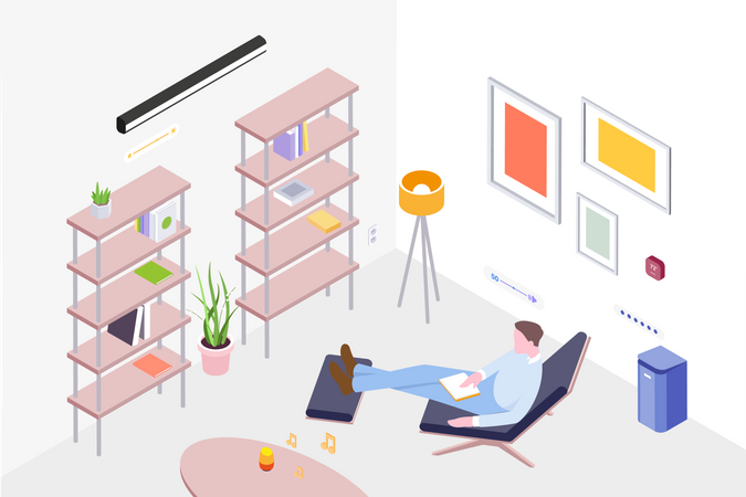 Concept of man relaxing on chair as well as listening music in room Illustration