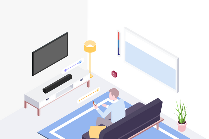 Concept of Man sitting on sofa and using smartphone Illustration
