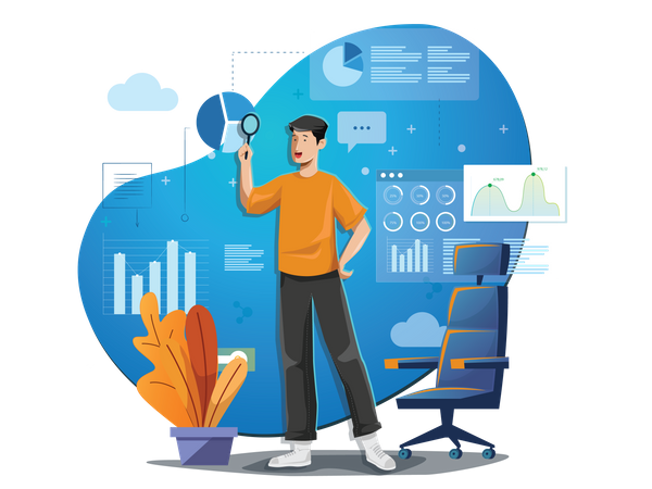 Concept of manager analyzing reports and infographic information Illustration