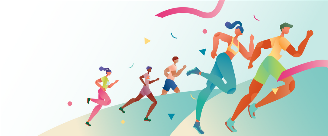 Concept of marathon and running competition Illustration