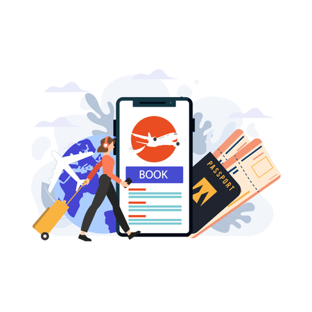Concept of online air ticket booking for traveling Illustration