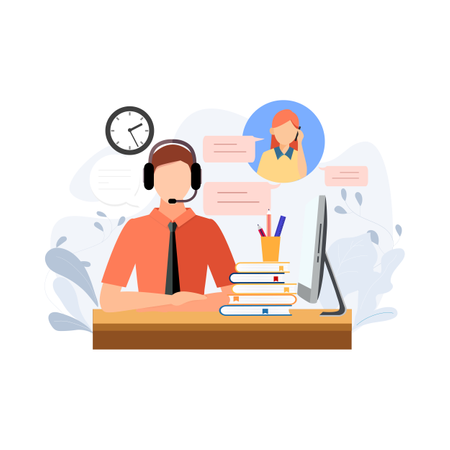 Concept of online and calling customer support Illustration