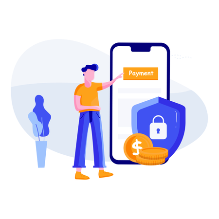 Concept of online payment security Illustration