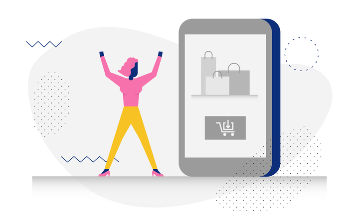 Concept of online shopping by woohoo character Illustration