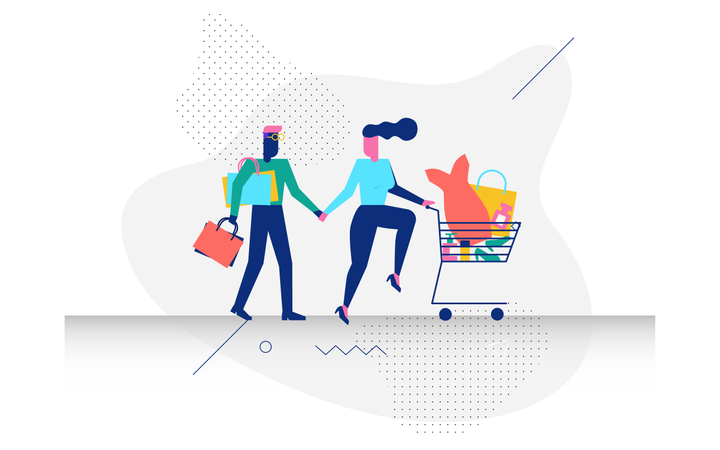 Concept of online shopping by woohoo characters Illustration