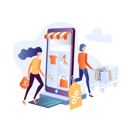 Concept of online shopping with smart gadgets Illustration