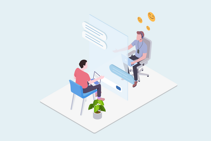 Concept of online support and consultancy Illustration
