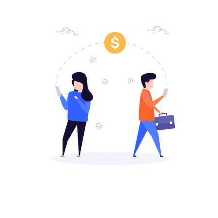 Concept of Online Transaction Illustration