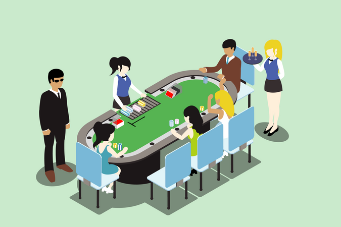 Concept of people playing poker in Casino Illustration