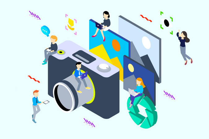 Concept of Photography and image capturing camera Illustration