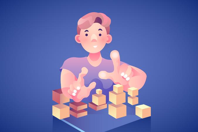 Concept of puzzle or web developer Illustration