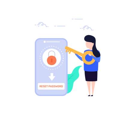 Concept of Reset lost password in mobile Illustration
