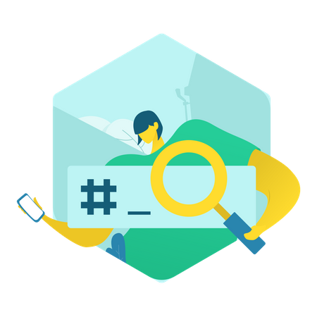 Concept of Search using hashtag on social media Illustration
