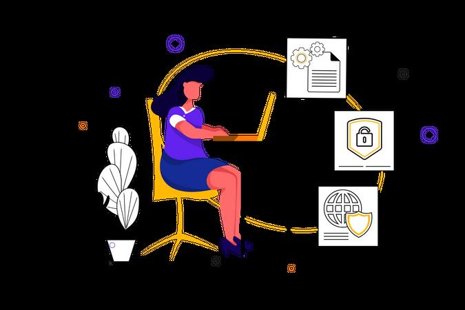 Concept of secure information and management Illustration