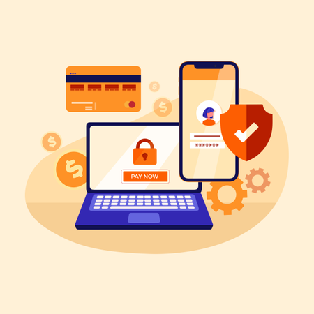 Concept of secure online payment using laptop, card and smartphones Illustration