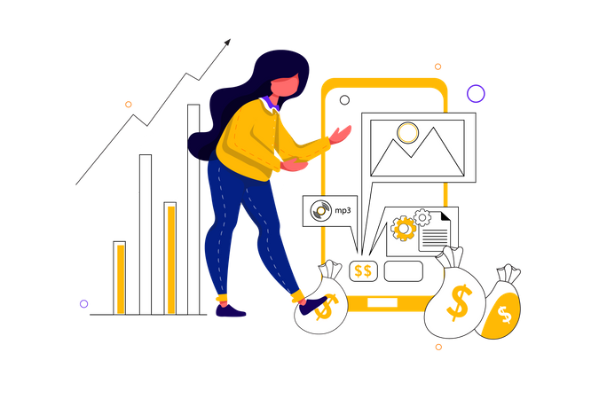 Concept of selling digital product on mobile Illustration