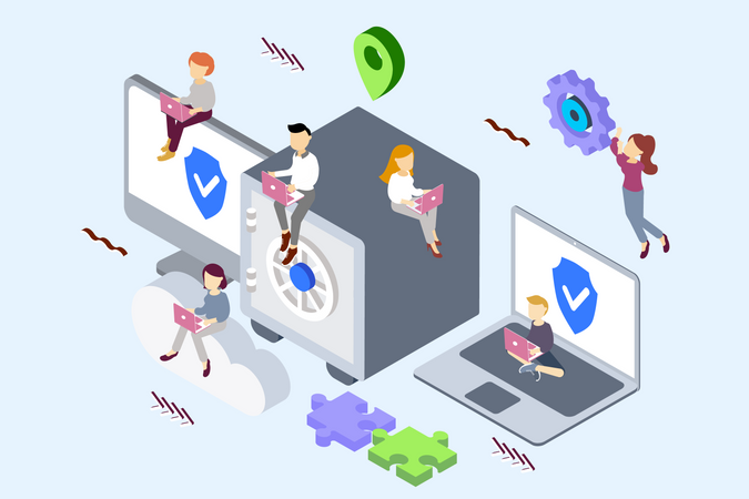 Concept of skilled people working on cloud security Illustration