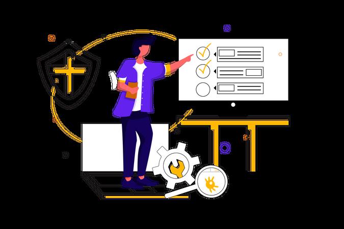 Concept of task management and bug finding Illustration