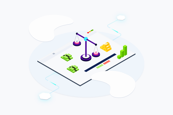 Concept of trading  of cryptocurrency Illustration