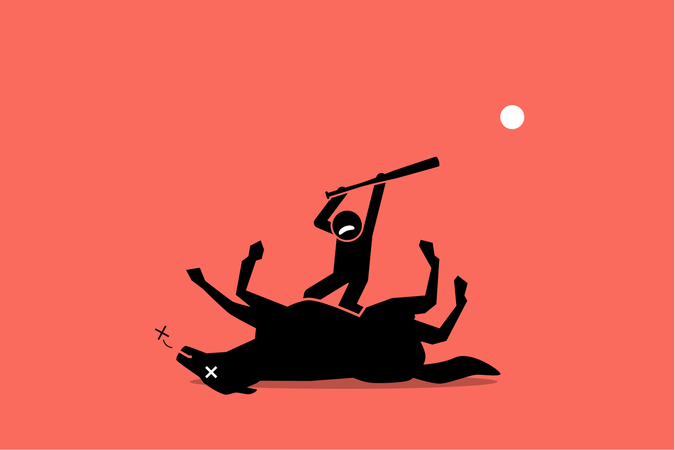 Concept of waste of time, no result, useless, and impossible, Vector artwork showing a man beating an already dead horse with a stick. Illustration
